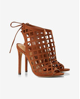 Express sqaure caged lace-back heeled sandal