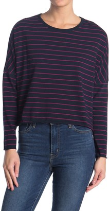 Frank And Eileen Striped Dolman Long Seeve Crop T-Shirt