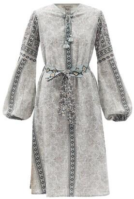 D'Ascoli Kamilla Balloon-sleeve Cotton-khadi Dress - Blue Multi