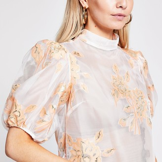 River Island Petite orange floral organza top