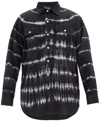 Lost Daze Tie-dye Striped Cotton Shirt - Navy