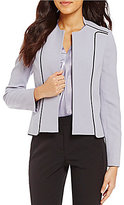 Kasper Petite Crepe Contrast Mandarin Collar Open-Front Jacket