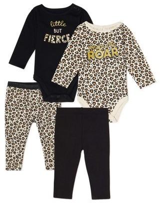 Garanimals Baby Girl Long Sleeve Bodysuits & Pants, 4-Piece Multi Pack