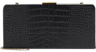 Saint Laurent Evening croc-effect leather clutch