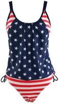 Ofocam Women's Bikini Stripes Lined Up American Flag Print Tankini Two Pieces Swimsuit (S, )