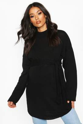 boohoo Maternity Tie Waist High Neck Jumper