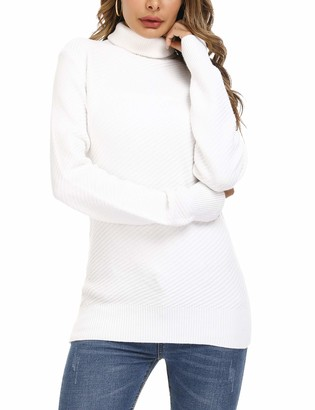 Aibrou White Turtleneck Jumper for Women Long Sleeve Chunky Cable Knit Pullover Sweater Jumpers Solid Slim Fit Winter Warm Knitwear Tops