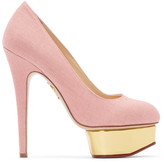 Charlotte Olympia Pink Linen Dolly Heels