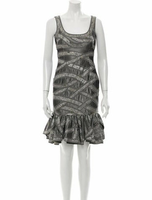 Naeem Khan Printed Mini Dress Grey