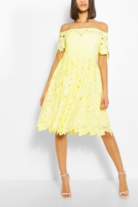boohoo Boutique Off Shoulder Lace Skater Dress