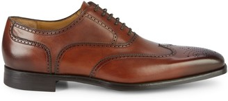 Magnanni Medallion Leather Wingtip Oxfords
