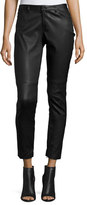 Elie Tahari Trista Slim-Leg Leather Pants w/ Zip Cuffs, Black