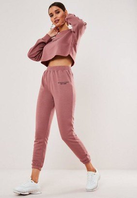 Missguided Rose Graphic Crop Sweat And Jogger Co Ord Set