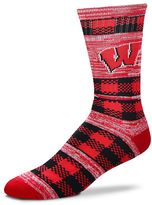 For Bare Feet Adult Wisconsin Badgers Double Plaid Crew Socks