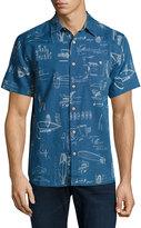 Faherty Ventura Bendback Short-Sleeve Shirt, Blue