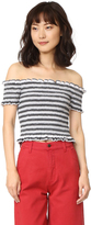 Shakuhachi Stripe Smocked Crop Top
