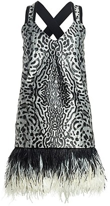 Proenza Schouler Sleeveless Feather-Trim Printed Jacquard Mini Dress