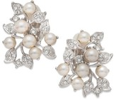 Nina Women's Imitation Pearl & Crystal Clip Earrings