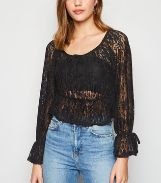 New Look Urban Bliss Mesh Lace Peplum Top