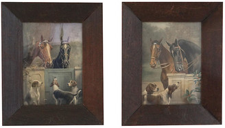 One Kings Lane Vintage Antique Horse & Dogs Portraits - Set of 2 - Faded Rose Antiques LLC