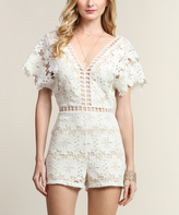 Ivory & Nude Lace Cutout Romper