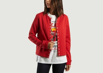 agnès b. Red Rosana Pressure Cotton Cardigan - cotton   red   1 - Red/Red