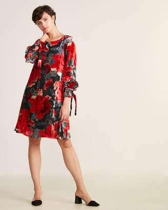 Taylor Floral Velvet Jacquard Long Sleeve Shift Dress