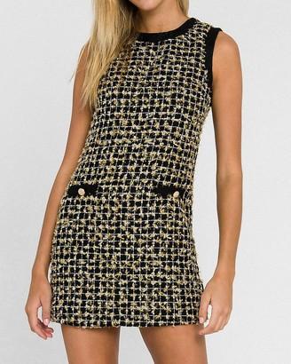 Express Endless Rose Metallic Tweed Mini Dress