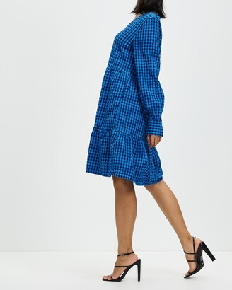 Only Women's Blue Mini Dresses - Lia Long Sleeve V-Neck Dress - Size One Size, XS at The Iconic