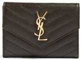Saint Laurent Monogram Leather Passport Case - Black