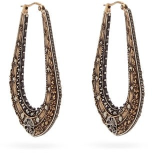 Alexander McQueen Floral-embossed Creole Earrings - Gold