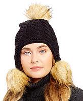 Michael Kors Patchwork Cable-Knit Trapper Hat with Faux-Fur Poms