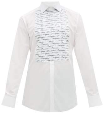 Dolce & Gabbana Logo Print Cotton Poplin Shirt - Mens - White