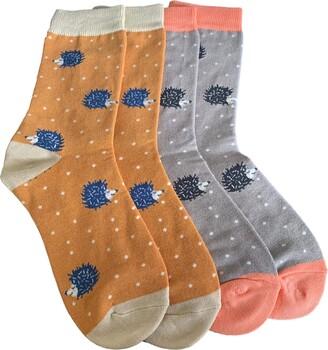Purple Possum Hedgehog Socks Ladies Cute Hedgehogs Print Bamboo Cotton Blend Womens UK Shoe Size 4-7 (Green mustard & grey)