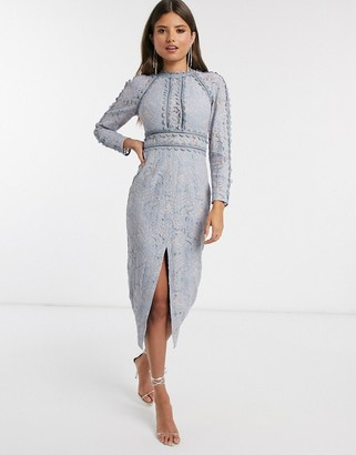 ASOS DESIGN long sleeve pencil dress in lace with geo lace trims in blue