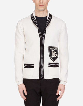 Dolce & Gabbana Virgin Wool Cardigan With Patch
