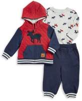 Little Me Baby Boy's Three-Piece Quilted Cotton Jacket, Graphic Cotton Tee and Striped Cotton Jogger Pants Set