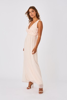 Little Mistress Mariska Bridesmaid Nude Floral Applique Maxi Dress