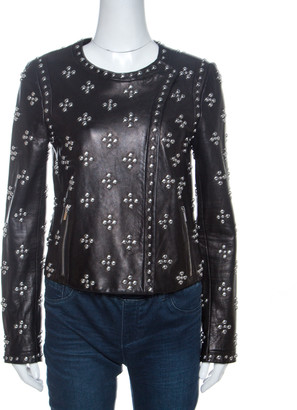 Diane von Furstenberg Black Leather Studded Cocoa Jacket S
