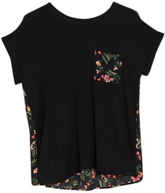 Bobeau Floral Short Sleeve Mixed Media Top