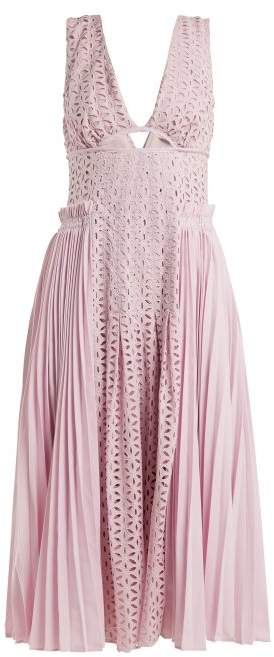 Self-Portrait Self Portrait Broderie Anglaise And Pleated Panel Midi Dress - Womens - Light Pink