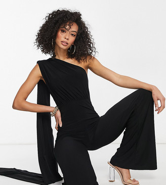 Club L London Tall one shoulder drape detail jumpsuit in black