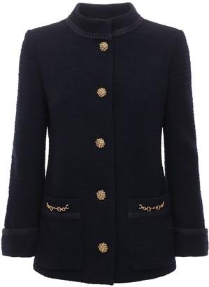 Gucci Wool Tweed Crepe Jacket W/front Pockets