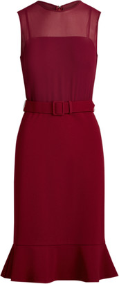 Ralph Lauren Belted Georgette-Jersey Dress