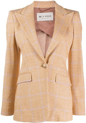 Etro Check Fitted Blazer