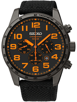 Seiko Ssc233p9 Solar Chronograph Canvas Strap Watch, Black