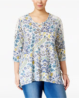Style&Co. Style & Co Plus Size Printed Lattice-Neck Top, Only at Macy's