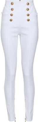 Balmain Snap-detailed High-rise Skinny Jeans