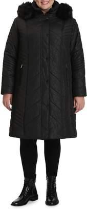 Northside Toni Plus Plus Faux Fur-Trim Jacquard Chevron Quilted Coat
