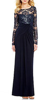 Eliza J Illusion Neck Long Sleeve Sequin Bodice Gown